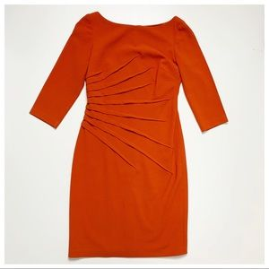 David Meister Orange 3/4 Sleeve Dress Size 4